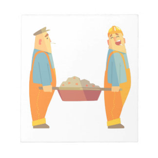 Two Builders With Barrow On Construction Site Notepad