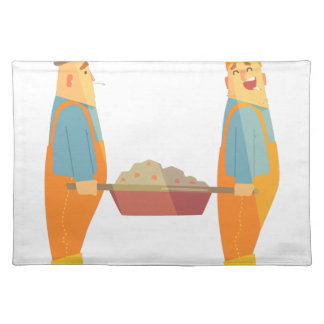 Two Builders With Barrow On Construction Site Placemat