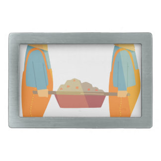 Two Builders With Barrow On Construction Site Rectangular Belt Buckle