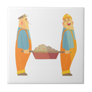Two Builders With Barrow On Construction Site Tile