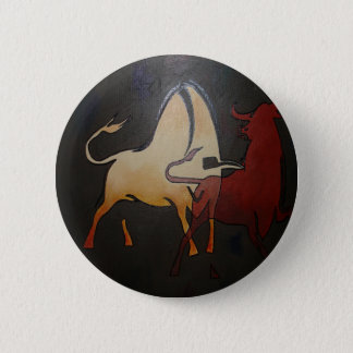 Two Bulls Fighting 2 Inch Round Button