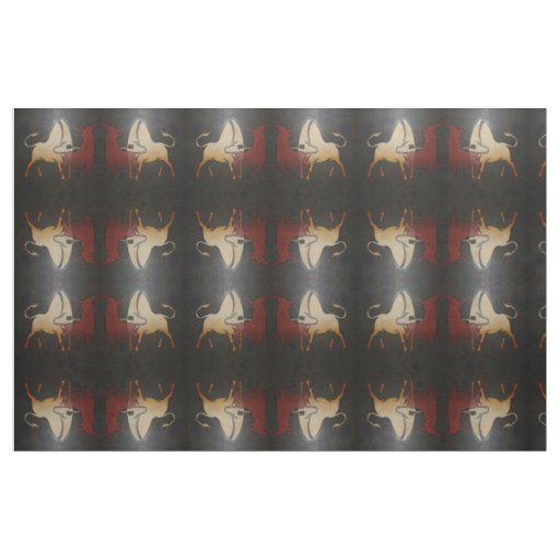 Two Bulls Fighting Fabric