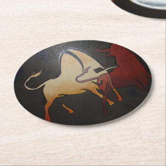 Two Bulls Fighting Round Paper Coaster