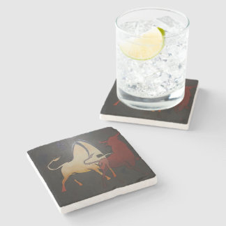 Two Bulls Fighting Stone Coaster