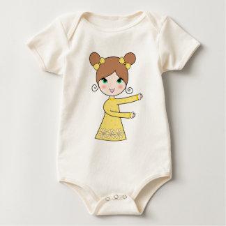 Two bun hairstyles girl cartoon art baby bodysuit
