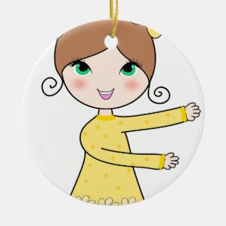 Two bun hairstyles girl cartoon art ceramic ornament