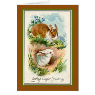 Two Bunny Easter Greetings Card
