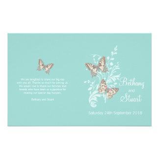 Two butterflies aqua teal graphic Wedding Program Flyers