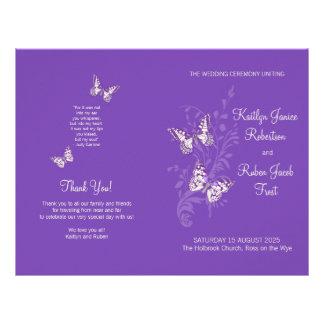 Two butterflies purple graphic Wedding Program Flyers