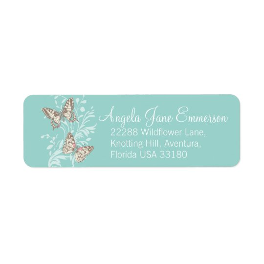 Two butterflies teal aqua wedding slim reply label return address label