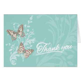 Two butterflies teal everyday thank you card