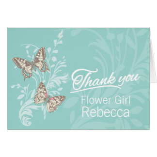 Two butterflies wedding flower Girl thanks card