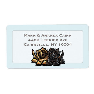 Two Cairn Terriers Powder Blue Custom Shipping Label