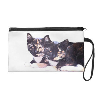 Two Calico Kitty Cats Kittens Bag Wristlets