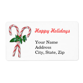 Two Candy Canes Personalized Shipping Labels