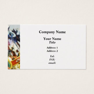 Two Carousel Horses Closeup Business Card