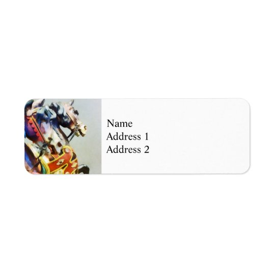 Two Carousel Horses Closeup Return Address Label