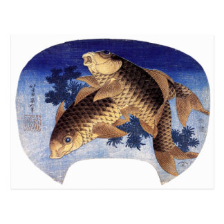Two Carps, Hokusai Postcard