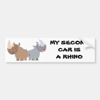 Two Cartoon Rhinos Bumper Sticker