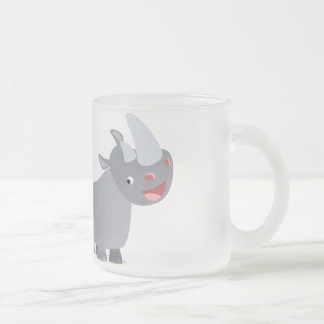 Two Cartoon Rhinos Frosted Glass Mug