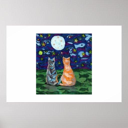 Two Cat Dreams original artwork Print