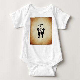 Two Cat Silhouette Baby Bodysuit