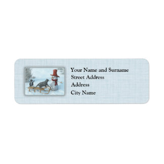 Two Cats and a Snowman Return Address Label