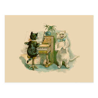 Two Cats at the Piano Postcard