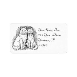 Two cats drawing  Address Label