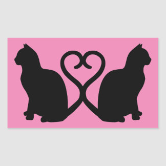 Two Cats in Love Silhouette Rectangle Stickers
