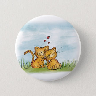 Two cats in love - watercolor illustration 2 inch round button