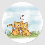 Two cats in love - watercolor illustration round sticker
