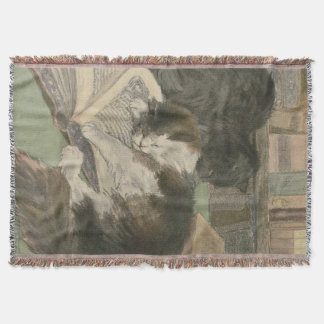 Two Cats In The Library throw blanket