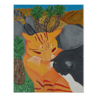 Two Cats Kissing At Joshua Tree Poster