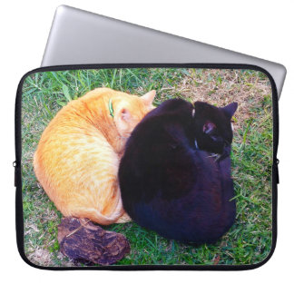 Two cats napping laptop sleeve