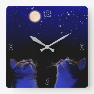 Two cats observe moon and stars square wall clock