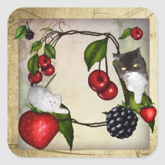 Two cats on berries sticker