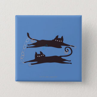 Two Cats Playing 2 Inch Square Button