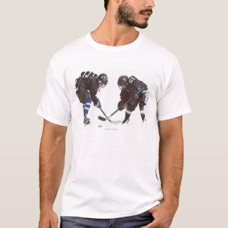 two caucasian hockey players wearing opposing T-Shirt