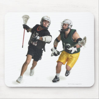 two caucasian male lacrosse players from mouse pad