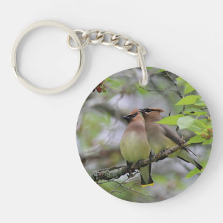 Two Cedar Waxwings Double-Sided Round Acrylic Keychain