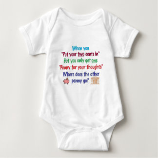 Two cents in, penny for your thoughts baby bodysuit