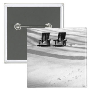 Two Chairs Buried In Snow 2 Inch Square Button