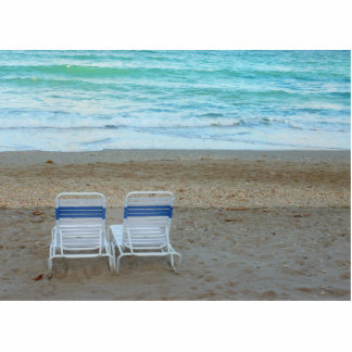 Two chairs on beach sand ocean waves photo cut out