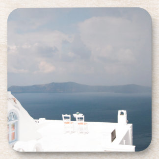 Two chairs on Santorini island Coaster