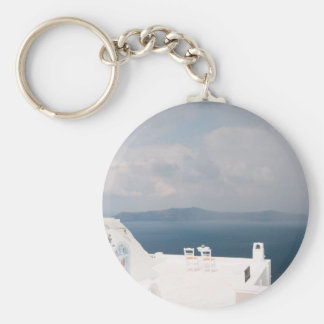 Two chairs on Santorini island Keychain