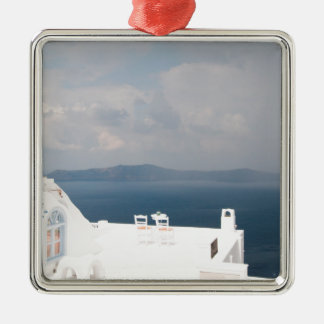 Two chairs on Santorini island Metal Ornament