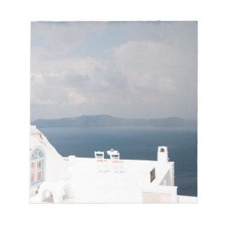 Two chairs on Santorini island Notepad