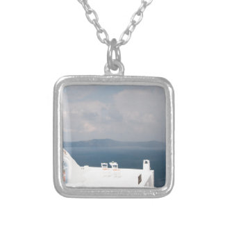 Two chairs on Santorini island Silver Plated Necklace