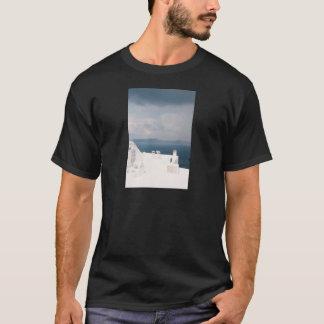 Two chairs on Santorini island T-Shirt